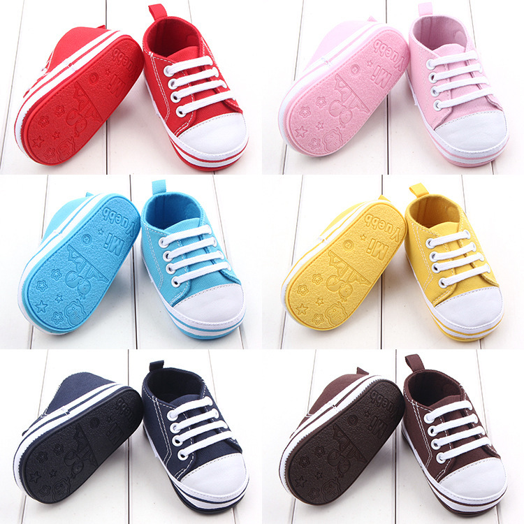Newborn Shoes Canvas Baby Sneaker Sport Shoes for Girls Boys Baby Walker Infant ToddlerSoft Bottom Anti-slip First Walkers Shoes