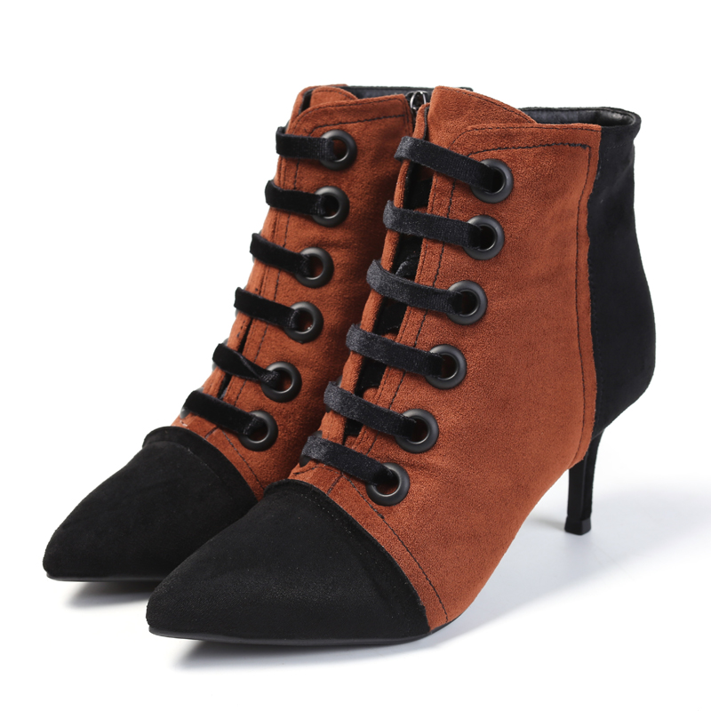 Botas Mujer Ankle Winter Boot For Shoes Women Mixed Color Flock High Thin Heel Pointed Toe Zip Lace Up Ladies Femme Short Boot steel boned color block zip up corset