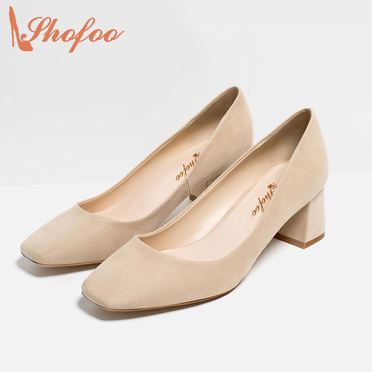 ФОТО Shofoo Spring/Summer 2017 Fashion Artificial Suede Med Heel Slip On Pumps Dress/Office Woman Shoes Beige/Grey Chaussure Femme
