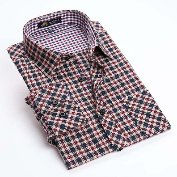 New 2017 spring mens brand long sleeve plaid shirts for Mens warm flannel shirts