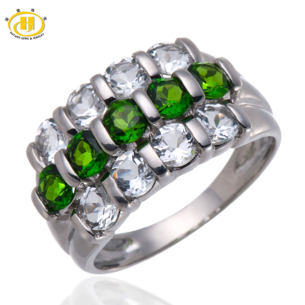Hutang Natural Chrome Diopside & White Topaz Solid 925 Sterling Silver Ring Fine Jewelry Gemstone цена