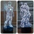 Os Vingadores Homem De Ferro 3D Ilusão Luzes LED 2016 New Super herói Acrílico Lâmpada de Mesa Levou Brinquedo Do Flash Colorido Gradiente Caçoa o Presente