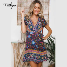 TEELYNN boho dress rayon purple Floral print wrap dresses sexy deep v-neck summer dresses Hippie mini dress beach wear vestido(China)
