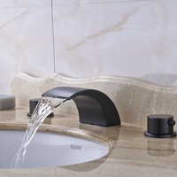Vessel Waterfall Spout Dual Handles Bathroom Sink Faucet Mixer Tap Oil Rubbed Bronze For 8 Sink