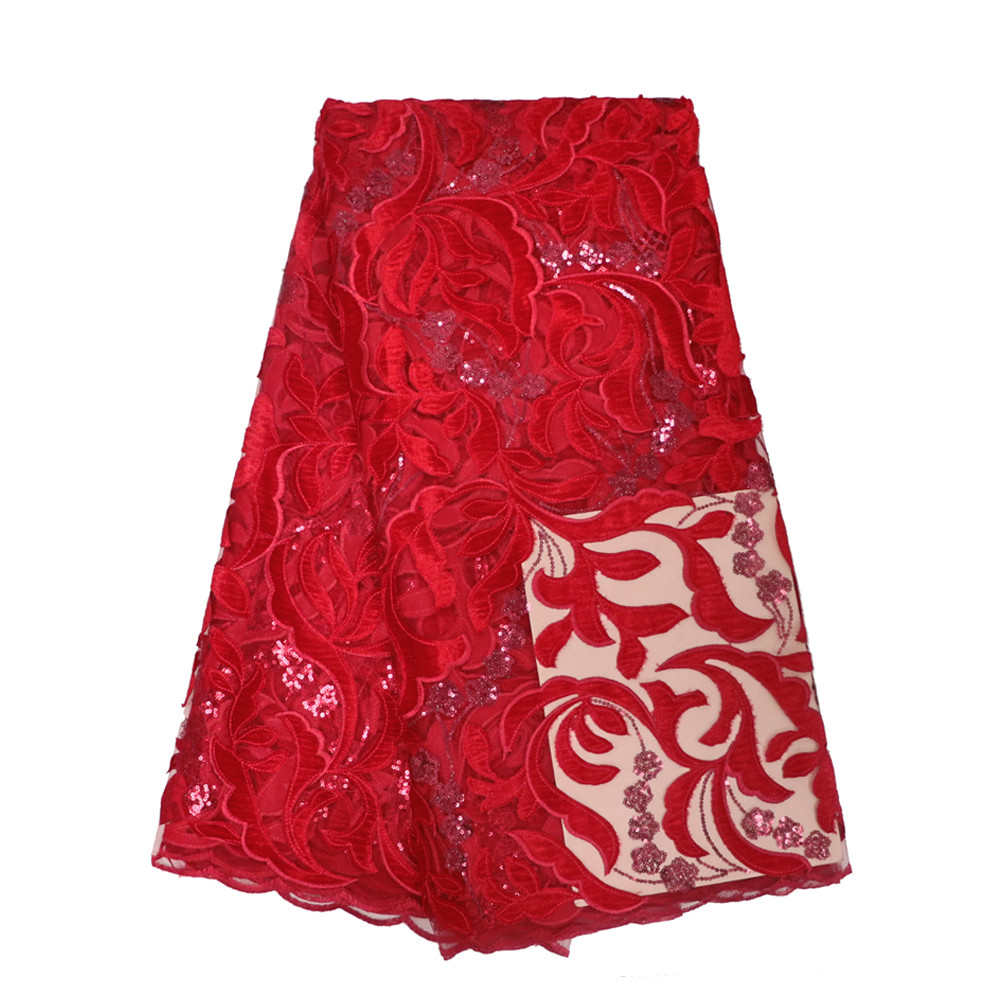 2018 latest red sequins french lace fabric high quality nigerian tulle lace fabric for luxury evening dresses HJ371 1