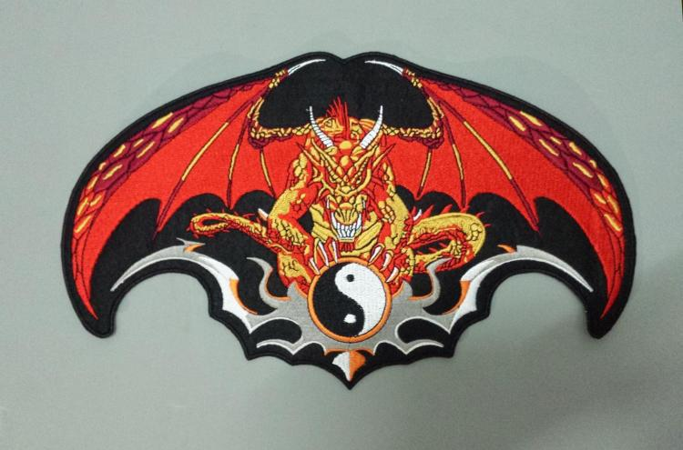 Huge YINYANG Dragon Knight Wings Large Embroidery Patches Motorcycle Biker for Jacket Back MC 32.8cm *19.3 cm