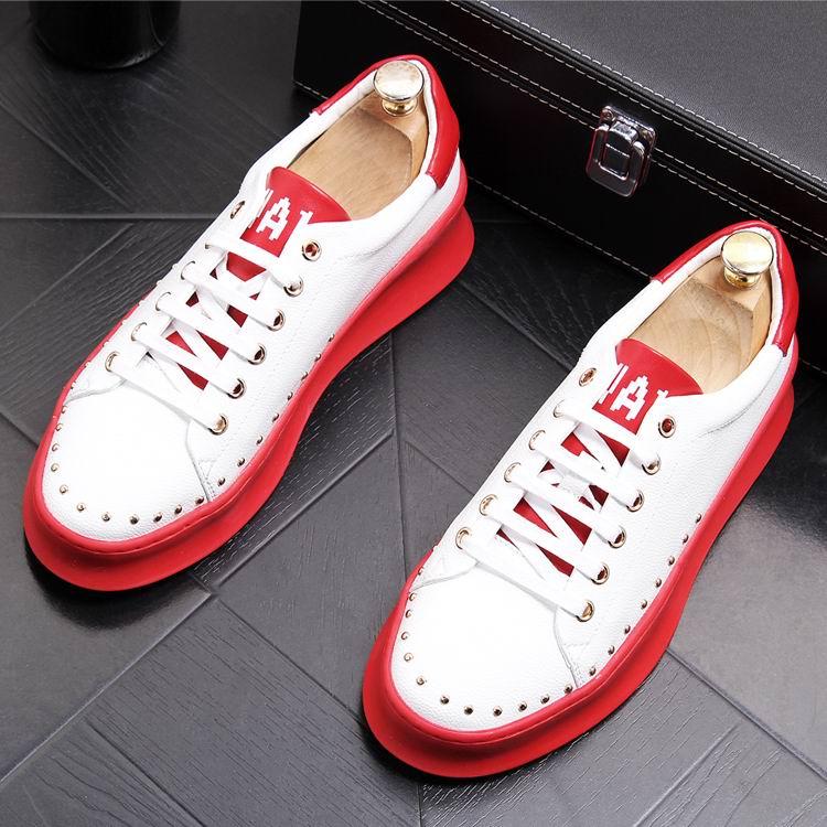 ERRFC Designer แฟชั่นบุรุษสีดำรองเท้าสบายๆรอบนิ้วเท้า Rivets Charm ใหม่ Arrivel สีขาวรองเท้าแพลตฟอร์มยอดนิยมรองเท้า-ใน รองเท้าลำลองของผู้ชาย จาก รองเท้า บน   2