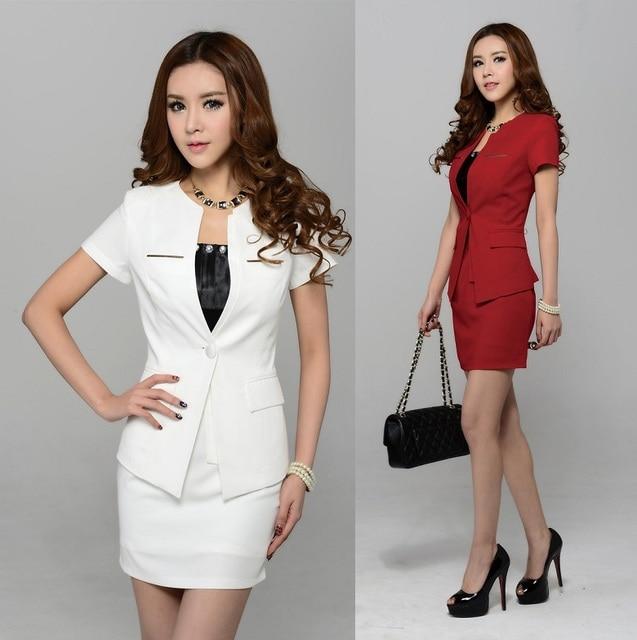 2015 moda Business Professional Women carreira saia ternos formais de trabalho desgaste Blazer e saia define elegantes uniformes vermelho