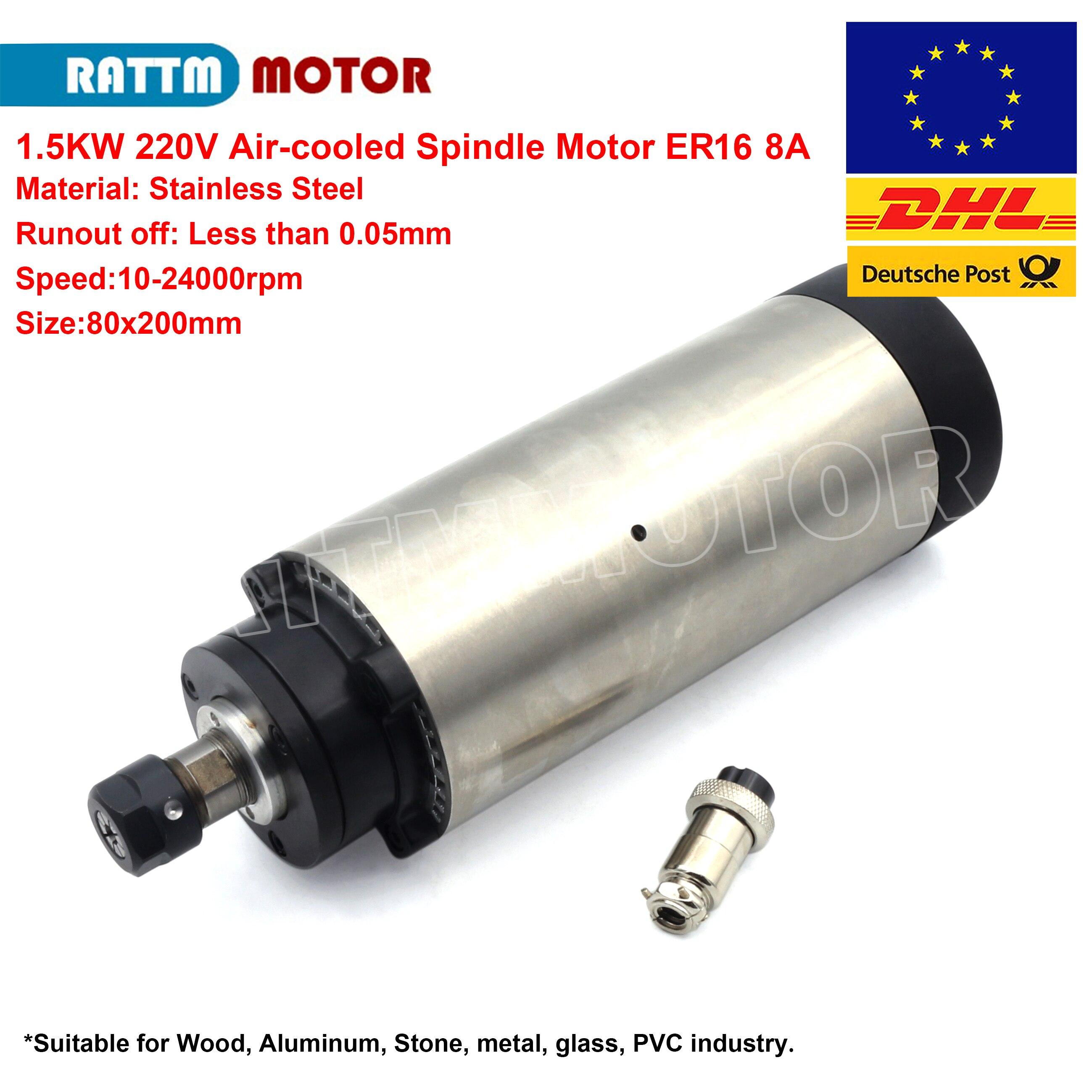 1 5KW Air cooled Spindle Motor 220V ER16 24000rpm 4 bearings 8A CNC Engraving Milling Grind