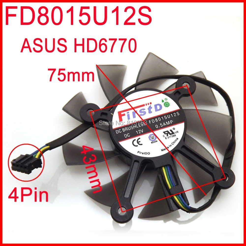 Firstdo FD8015U12S 12V 0.50A 75mm 43x43x43x43mm For ASUS HD6770 Graphics Card Cooling Fan