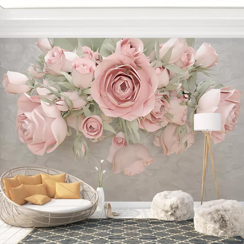 Custom 3D Photo Wallpaper For Bedroom Walls 3D Embossed Non-woven Flower Floral Mural Living Room Sofa TV Background Decoration