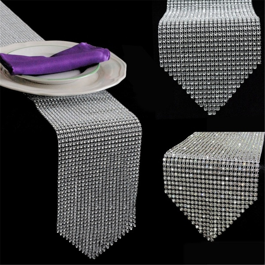 OurWarm Wedding Party Diamond Bling Table Runners Rhinestone Table Cover For Home Banquet Dinner Room Table Decoration 275*12CM