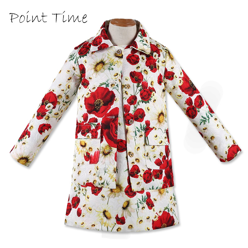 Fashion Baby Girls Clothing Sets Floral Pattern Kids Tracksuit Kids Coat + Round Neck Sleeveless Dress Set Girls Clothing цена 2017