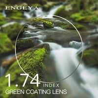 1.74 인덱스 처방 렌즈 수지 비구면 안경 렌즈 근시 원시 노안 안경 렌즈 녹색 코팅