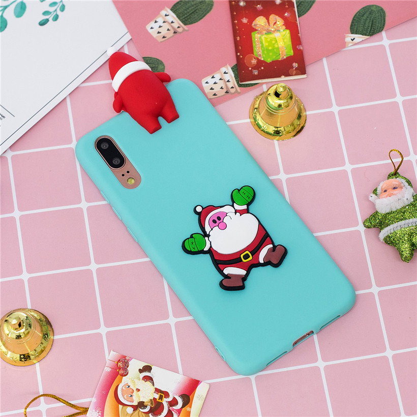 Case For Huawei P20 P10 Lite Silicone Case For Huawei P8 P9 Lite Soft Case Luxury 3D Christmas Cartoon Phone Shell