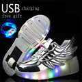 Boys Girls Sneakers Shoes With Wheels Children Roller Shoes luminous Led Light Shoes For Kids One Wheel Skate Roller Size 29-39