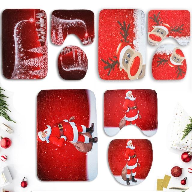 3 pz/set Di Natale Da Bagno Zerbino s Anti Slip Prodotti per il Bagno Lavabile S
