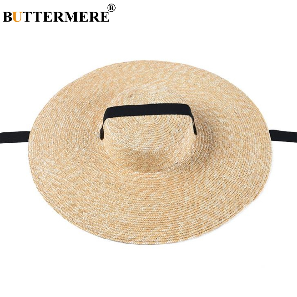 BUTTERMERE Women Sun Hat Wide Brim 15cm Straw Beach Boater Summer Lacing Designer Brand Fashion UV Ladies