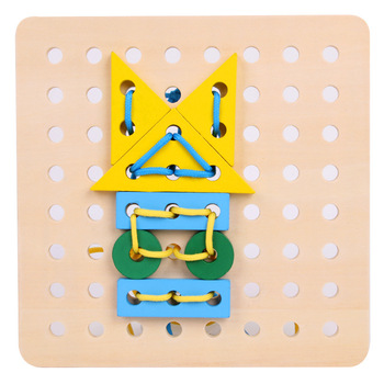 Threaded plate Wooden toys kindergarten hands through rope toys boys and girls early education puzzle shape building Blocks цена 2017