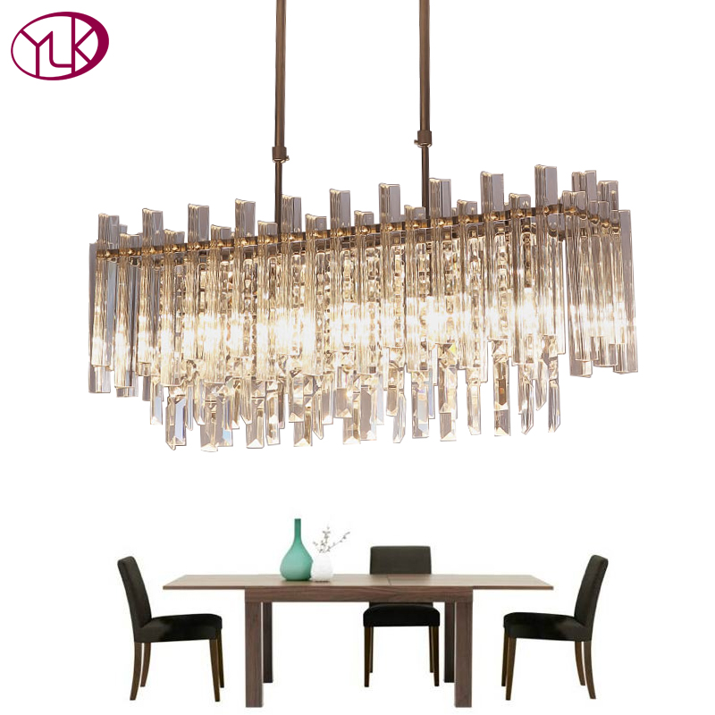 Youlaike Moderne Lustre En Cristal Pour Salle À Manger Rectangle Décoration Luminaires LED Lustres De Cristal