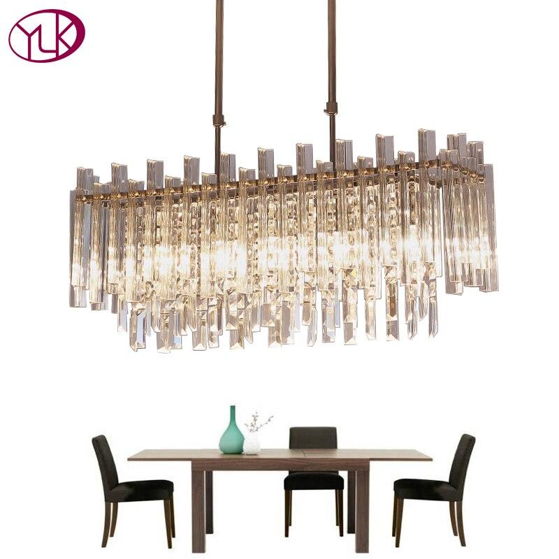 Youlaike Moderno Lampadario Di Cristallo Per Sala da pranzo Rettangolo di Decorazione Della Casa Apparecchi di Illuminazione A LED Lustri De Cristal