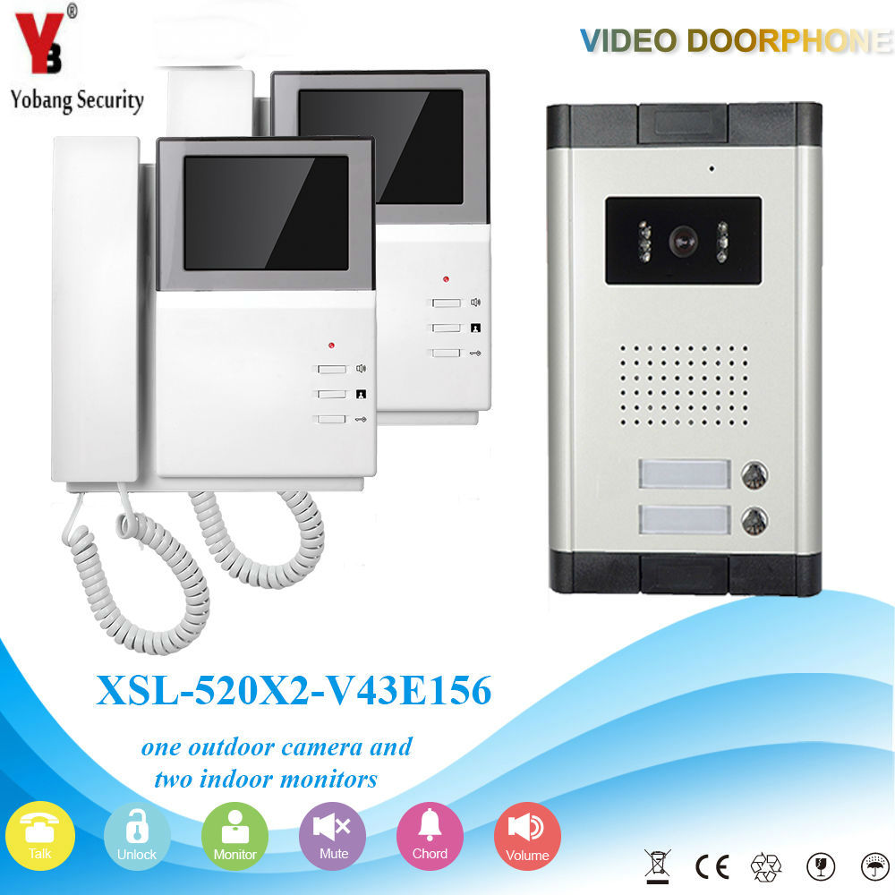YobangSecurity 4.3 Inch Color LCD Villa Video Door Phone Doorbell Intercom Entry System Kit Night Vision For 2 Unit Apartment homefong security 4 tft lcd screen night vision video door phone intercom doorbell kit hd 800tvl 2 indoor unit 2 outdoor unit