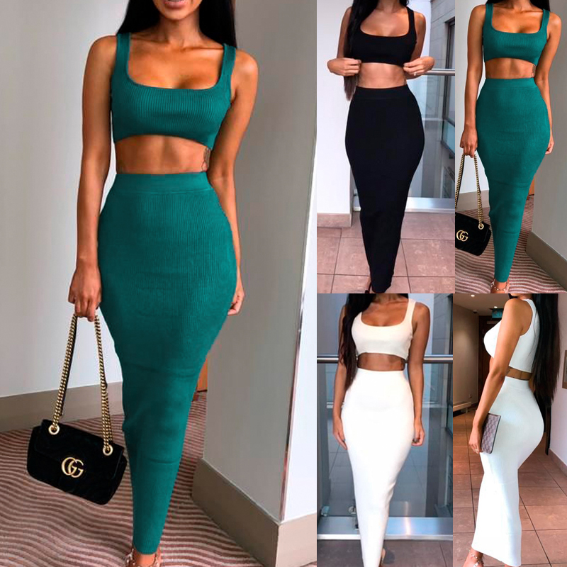 2019 High Women 2 Piece Set Solid Color Long Skirt Ribbed Cropped Tops Sleeveless Vest For Party DSM