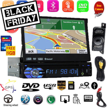 GPS Navigation 1 Din Car DVD Player 7 Inch Car Radio with Car Audio In Dash Headunit built-in Bluetooth Supports Subwoofer Steer