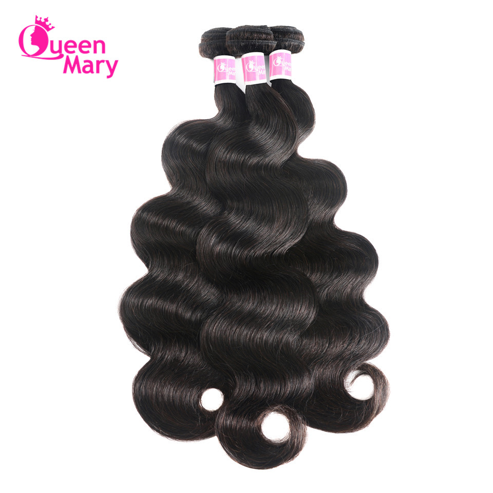 Peruvian Body Wave 100% Human Hair Bundles Queen Mary Non-Remy Hair Weaving Natural Colo ...