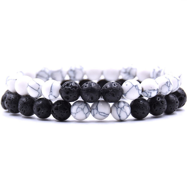 DIEZI Vintage Couple  White Black Brown Bracelets Charm Strand Bracelets For Women Natural Stone Beads Men Bracelets Jewelry