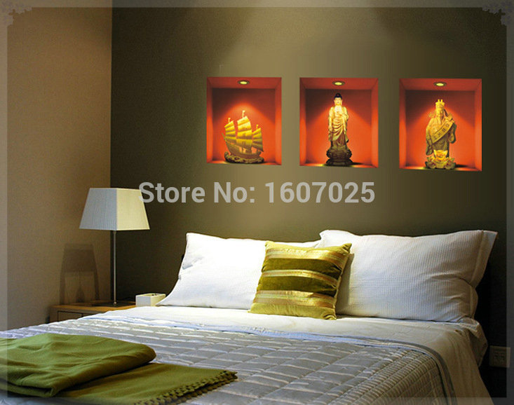 Aliexpress Com Buy 30 33cm 2015 New Buddha Paintings 3d Wall Stickers Vintage Home Decor Wall Art Decorations Living Room Wholesale Free Shipping From