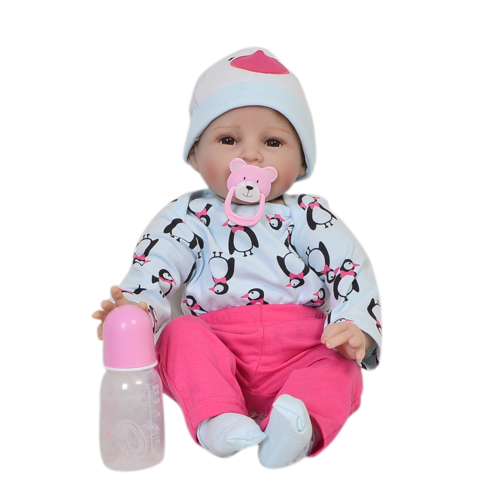 Hot Sale 22'' Smile Boy Silicone Reborn Baby Doll Cloth Body Lifelike Reborn-Dolls Toy For Fashion Children Best Birthday Gifts