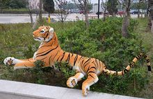 huge 130cm prone yellow tiger plush toy throw pillow , birthday gift c1340