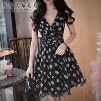 original dress women 2017 summer new style sexy v neck fashion casual black print sleeveless party dresses wholesale