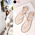 2016 new summer women bow sandals fashion rhinestone pearl flat Rv sandals flip-flop women's plus size flat female roman sandals