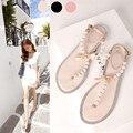 2016 novas mulheres de verão arco sandálias da moda strass pérola Rv plana sandálias flip-flop das mulheres plus size plana sandálias romanas mulheres