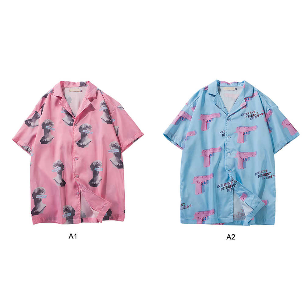 Men Summer Printed Turn-down Collar Blouse Short Sleeve Loose Tees Hawaiian Beach Shirts Breathable Shirt Elastic Top Plus Size