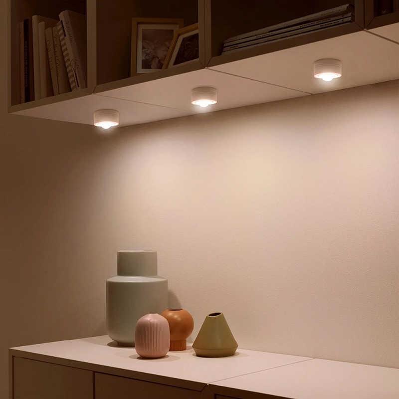 Sensor táctil regulable inalámbrico Led bajo armarios de cocina luces LED Puck luz para cerrar armario escalera pasillo noche lámpara