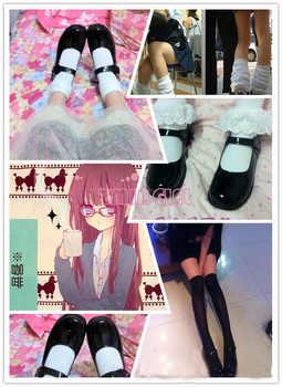 ワンダーランドコスプレかわいい女性のロリータメイド丸いつま先靴日本の学校制服uwabakiフラットメアリージェーンズ