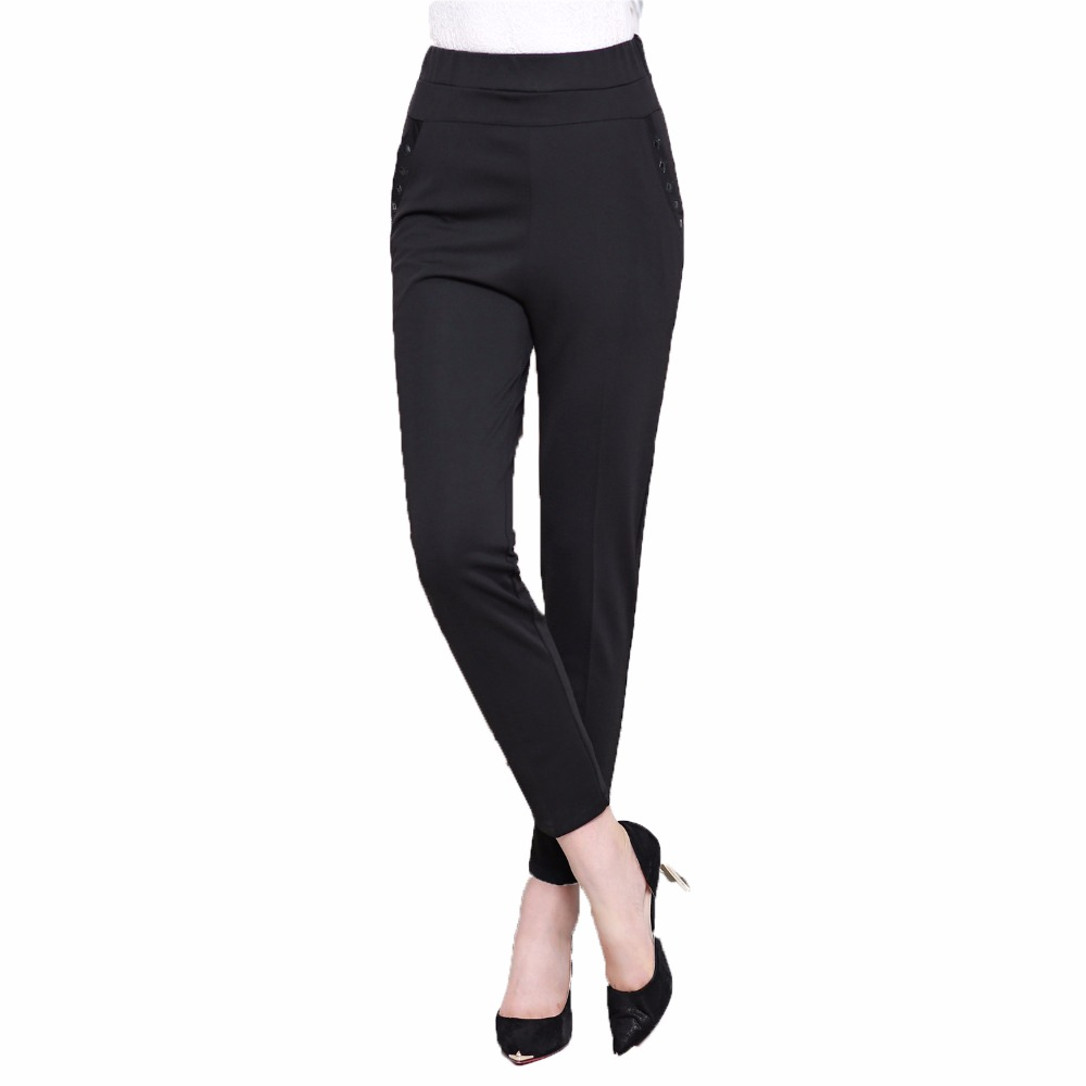 2017 Autumn Middle Aged Woman Basic Pant Woman Black Trousers Mature Lady High Elastic Waist Pants Mother Comfort Trousers 50S