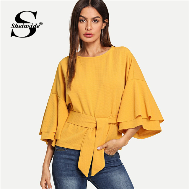 64d11a697be275 Sheinsid Ginger Tie Front Workwear Top Office Ladies Yellow Belted Ruffle  Sleeve Elegant Regular Fit Women Autumn Blouse Shirt