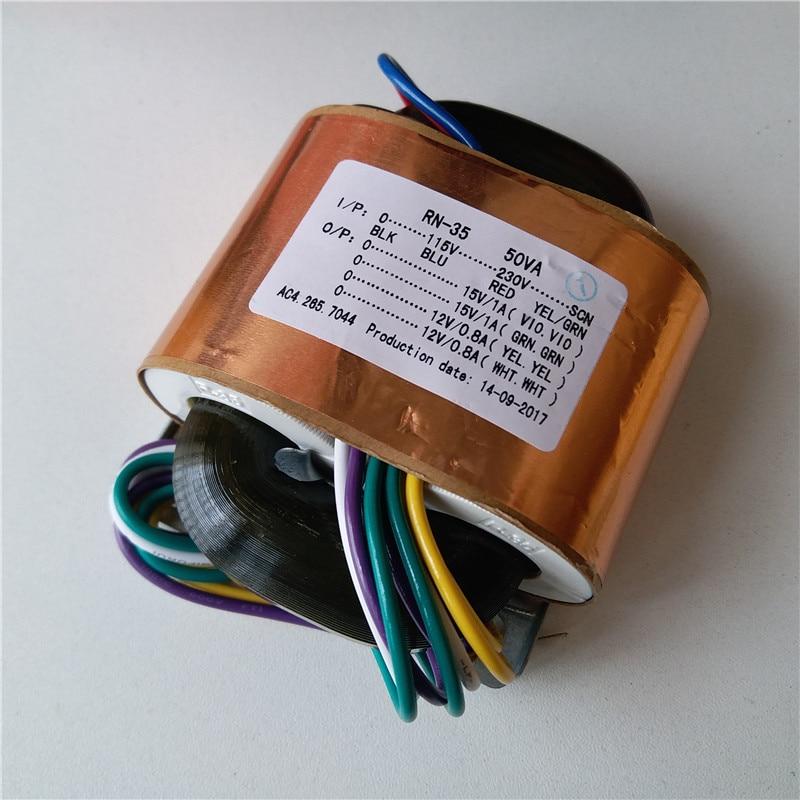 2*15V 1A 2*12V 0.8A R Core Transformer custom transformer 115-230VAC 50VA with copper shield output for Power amplifier r core transformer copper custom transformer 220vac 200va 2 26ac 3 5a 2 15v 0 6a with shield output for power amplifier