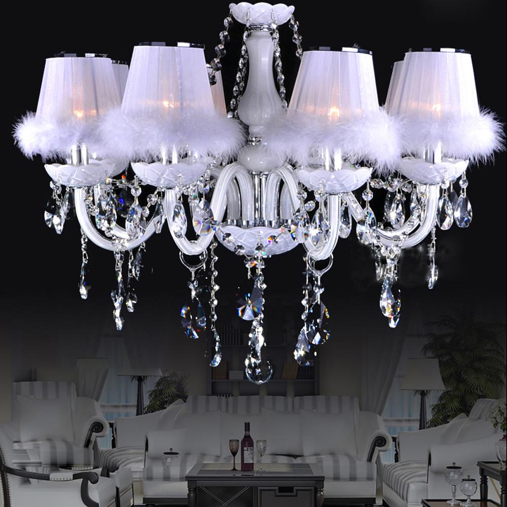 Chevet salle de lecture hall salon salon avec blanc de table de plumes - Led E14 Europ Enne Cristal Tissu Plume Led Lampe Led Lumi Re Pendentif Lumi Res Pendentif Lampe