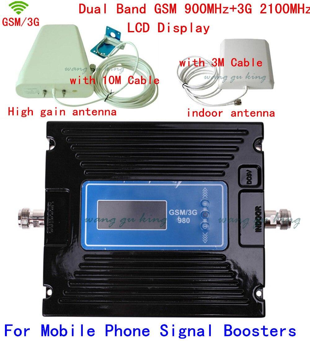Новый 60dbi усиления Регулируемая GSM 900 мГц Booster + 3g WCDMA 2100 мГц Ретранслятор dual band Мобильный усилитель сигнала комплекты w /кабель и антенны