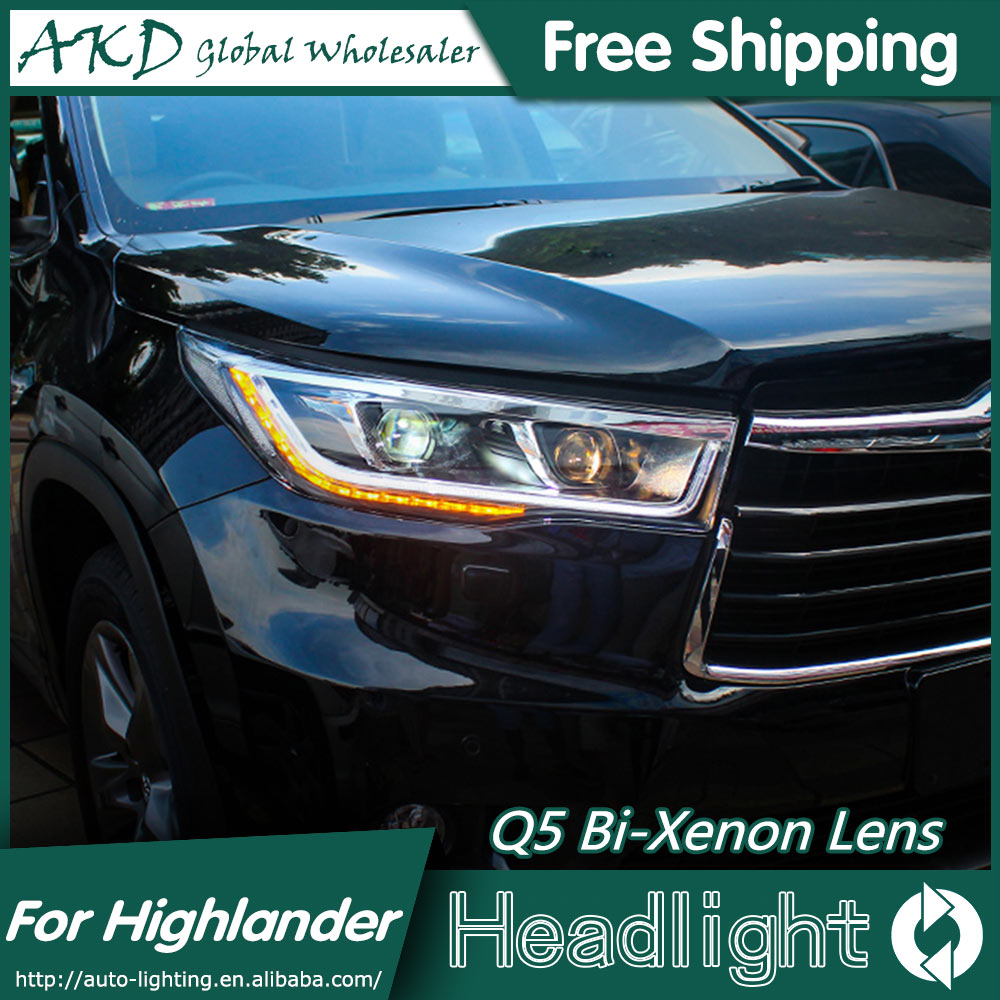 AKD Car Styling for 2015 New Highlander Headlights Toyota Kluger LED Headlight DRL Bi Xenon Lens High Low Beam Parking Fog Lamp купить