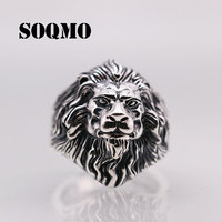 SOQMO Men Women Adjustable Animal Ring 100% Real 925 sterling silver Jewelry Punk Rock Vintage Lion Opening Ring New Arrival