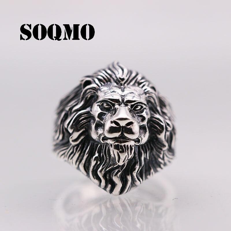 SOQMO hommes femmes réglable bague Animal 100% réel 925 bijoux en argent sterling Punk Rock Vintage Lion ouverture bague nouveauté