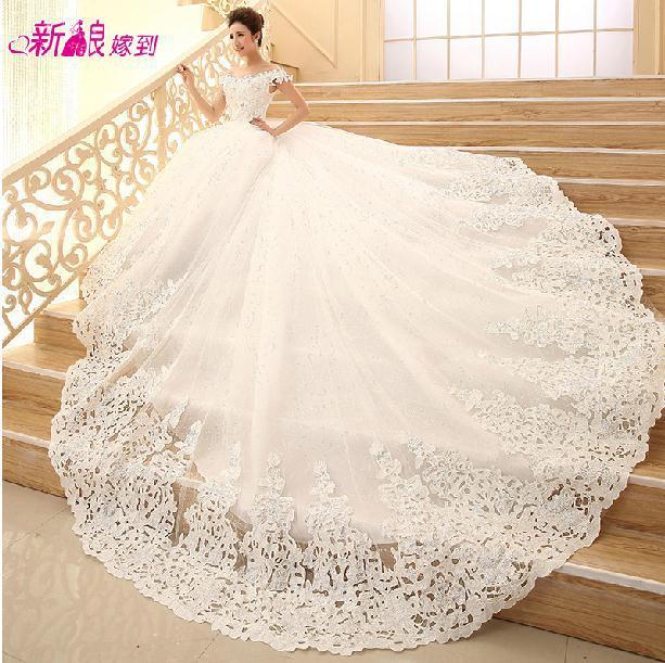 Fashionable Summer Diamond Lace Wedding dress 2014 Boat Neck Long ...