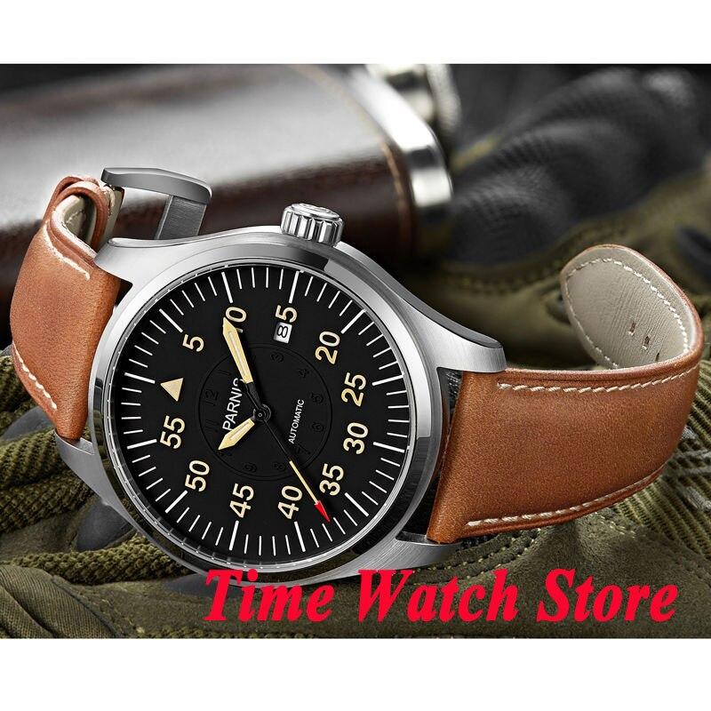 Parnis 44mm cadran noir marques orange verre saphir lumineux 21 bijoux miborough montre pour hommes automatique montre-bracelet 624