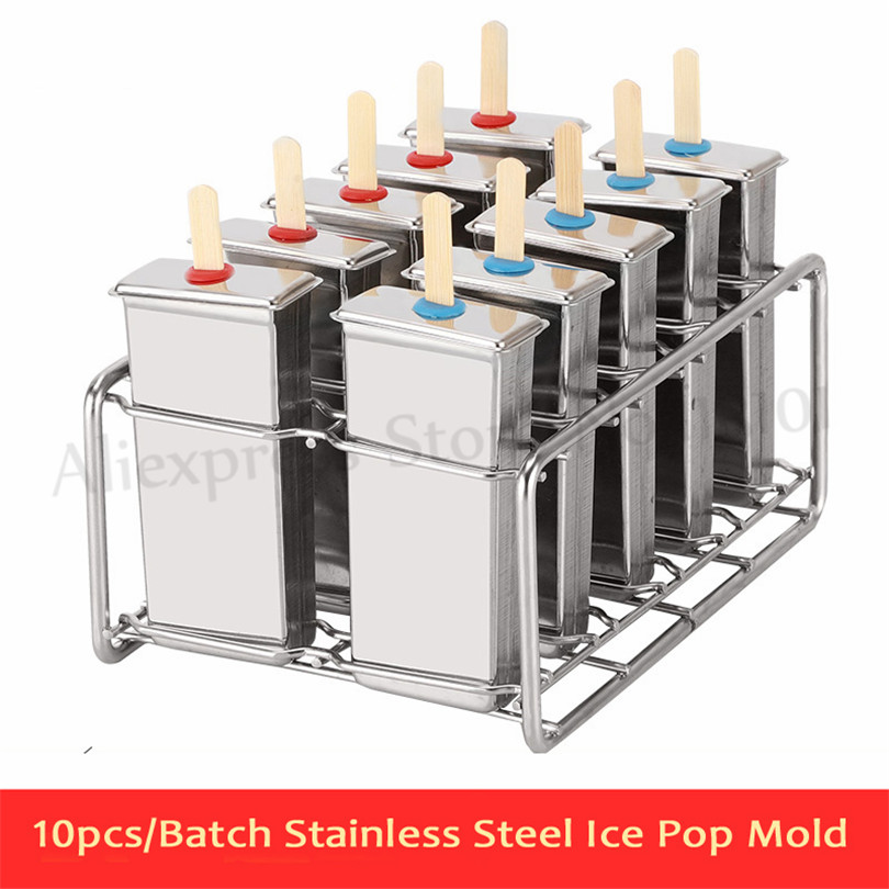 Frozen Stainless Steel Popsicle Molds 10pcs/Batch Stick Holder Silver Home DIY Round/Flat Ice Cream Moulds frozen stainless steel popsicle molds 10pcs batch stick holder silver home diy round flat ice cream moulds